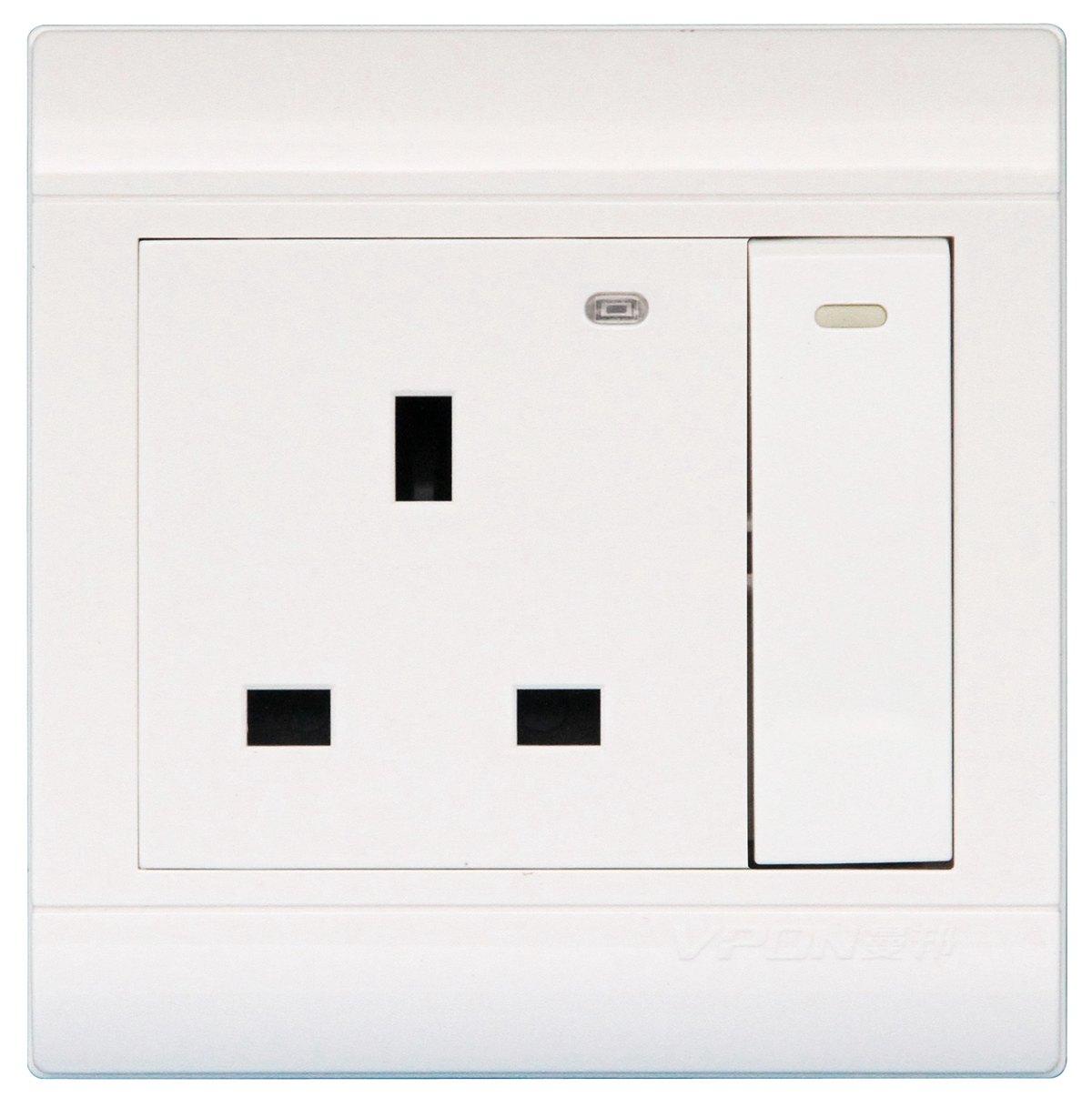 双闸大板开关13A方脚插座带指示灯